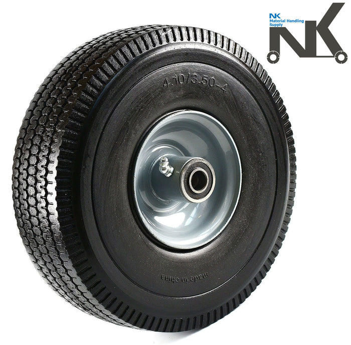 "NK 10"" x 3.5"" Solid Rubber Flat Free Tubeless Wheel -WFF10-NK-RK Safety"