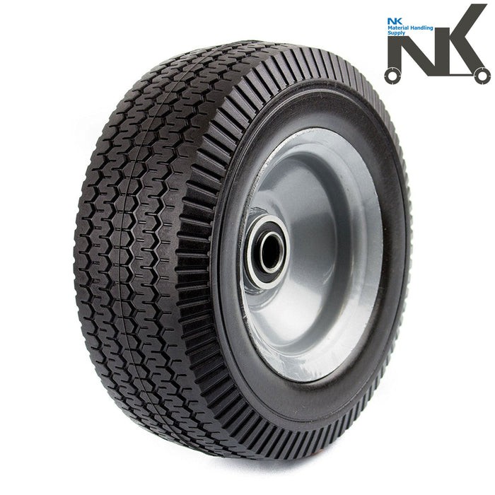 "NK 8"" x 3.5"" Solid Rubber Flat Free Tubeless Wheel - WFF8-NK-RK Safety"