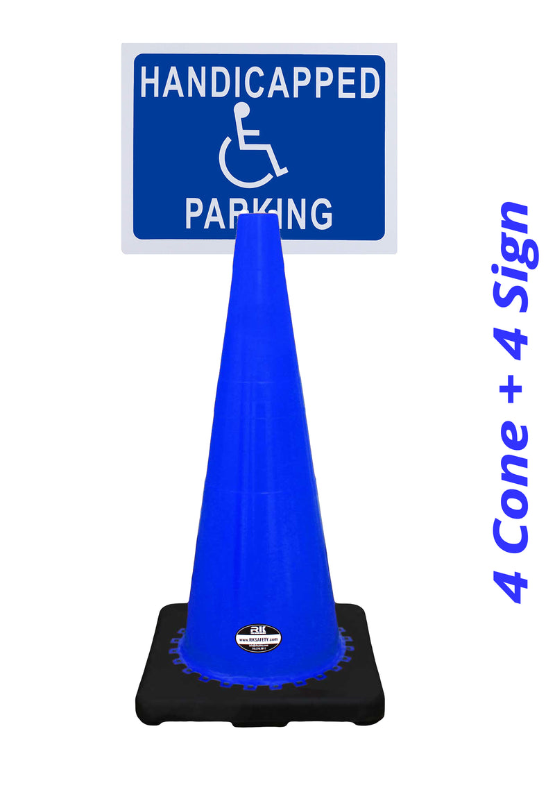 "RK-Safety 28"" Blue Cone, Black base without Reflective Tape, Plus Cone Sign 40 ""Handicapped Parking"", (Cone-4 ea + Cone Sign-4 ea)-RK Safety-RK Safety"