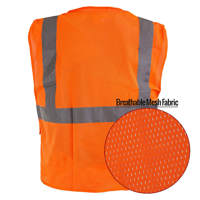 Class 2 High Vis Safety Vest with Reflective Strips - M8511& M8512 (Orange, Lime)-New York Hi-Viz Workwear-RK Safety