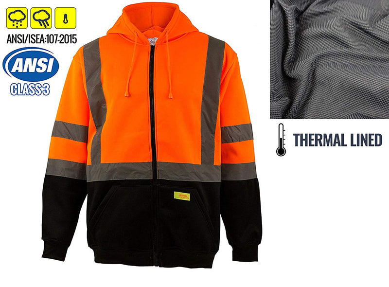 Class 3 High Visibility Sweatshirt , Full Zip Hooded, Fleece - H6611-RK Safety-RK Safety