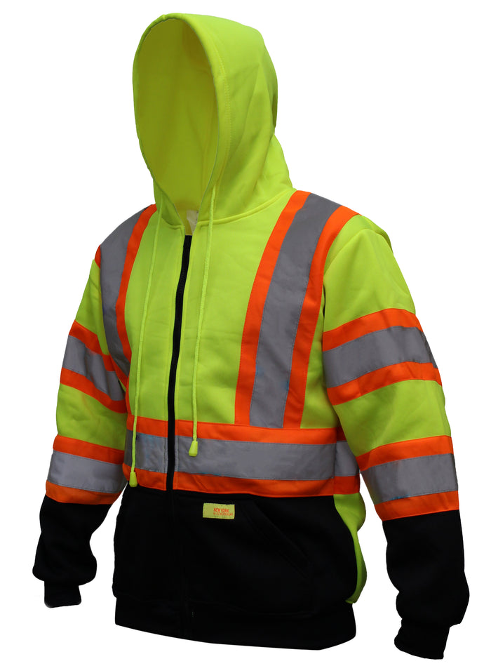 New York Hi-Viz Workwear HX7012 Men's ANSI Class 3 High Visibility Class 3 Sweatshirt, Full Zip Hooded, Lightweight, Black Bottom with X pattern-New York Hi-Viz Workwear-RK Safety