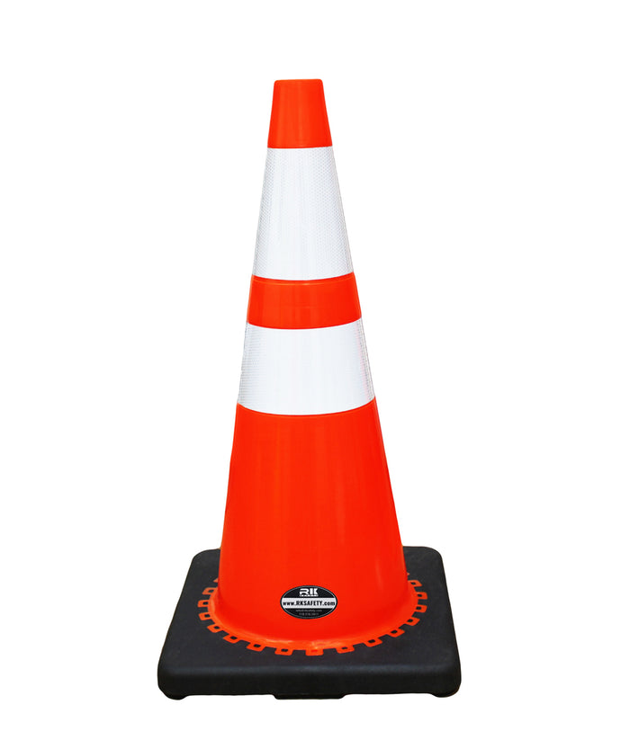 "RK 28"" Orange Safety Traffic PVC Cones with 6"" + 4"" Reflective Collars,Black Base - RK Safety"