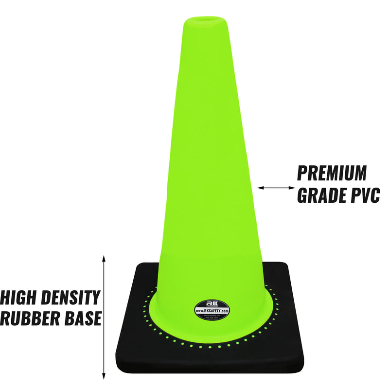 "28"" RK Lime Safety Traffic PVC Cones with Black Base-RK Safety-RK Safety"