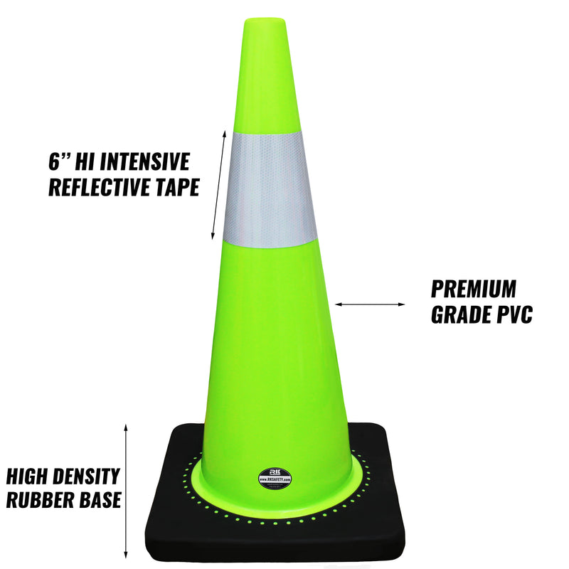 "(Set of 8) 28"" Lime Traffic Cones, One Reflective Collars-RK Safety-RK Safety"