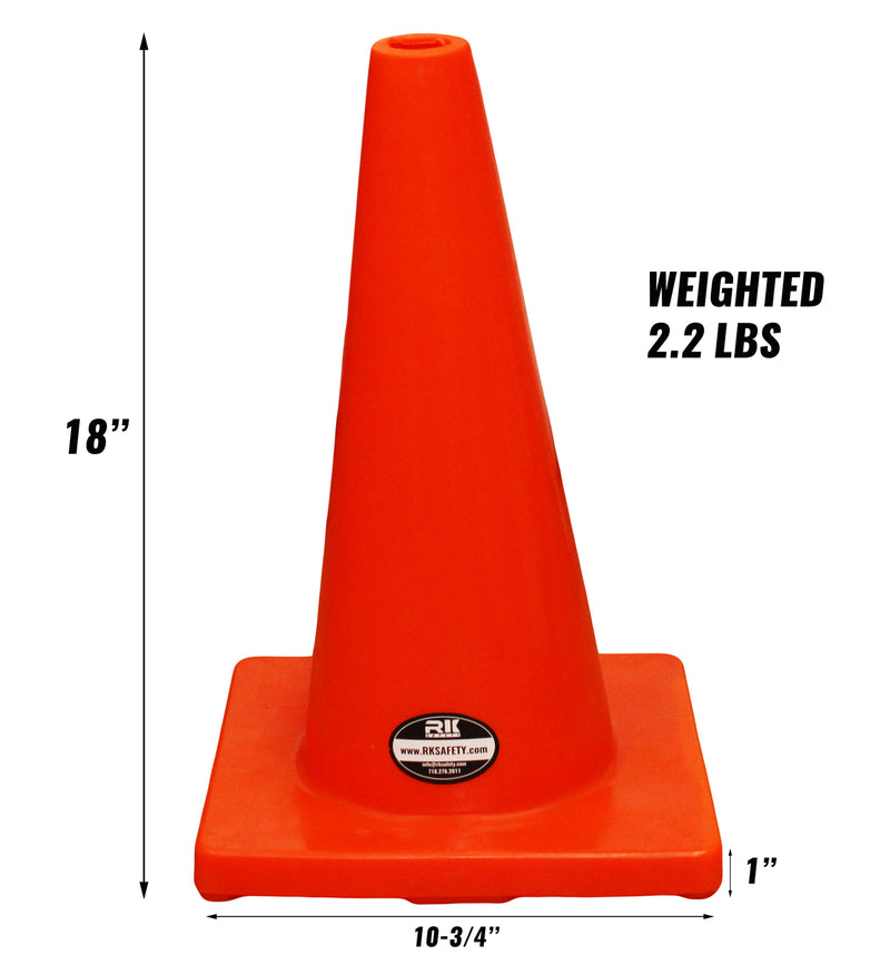 "(Set of 12) 18"" RK Orange Safety Traffic PVC Cones, Orange Base-RK Safety-RK Safety"