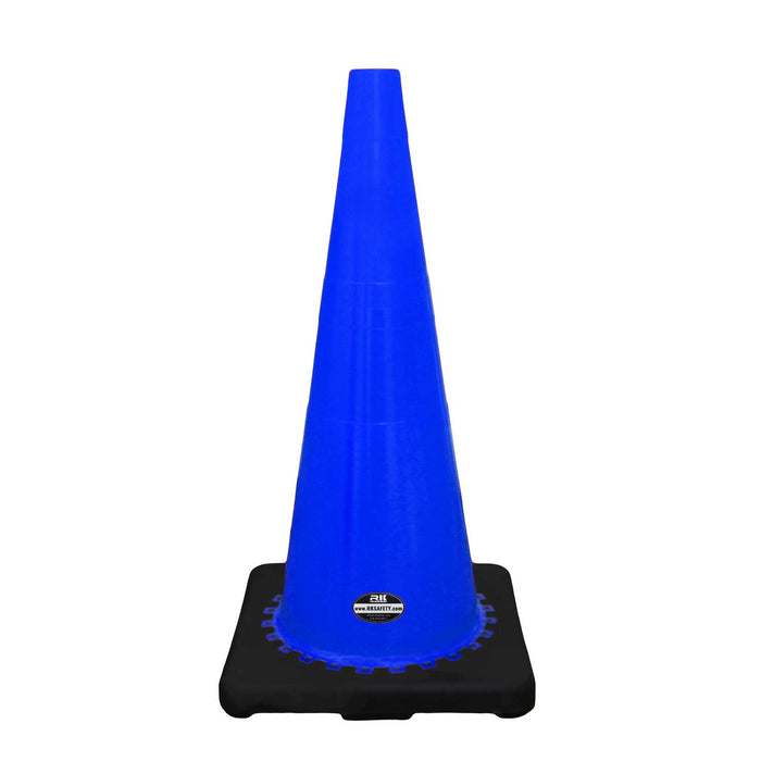 "28"" RK Blue Safety Traffic PVC Cones, Black Base-RK Safety-RK Safety"