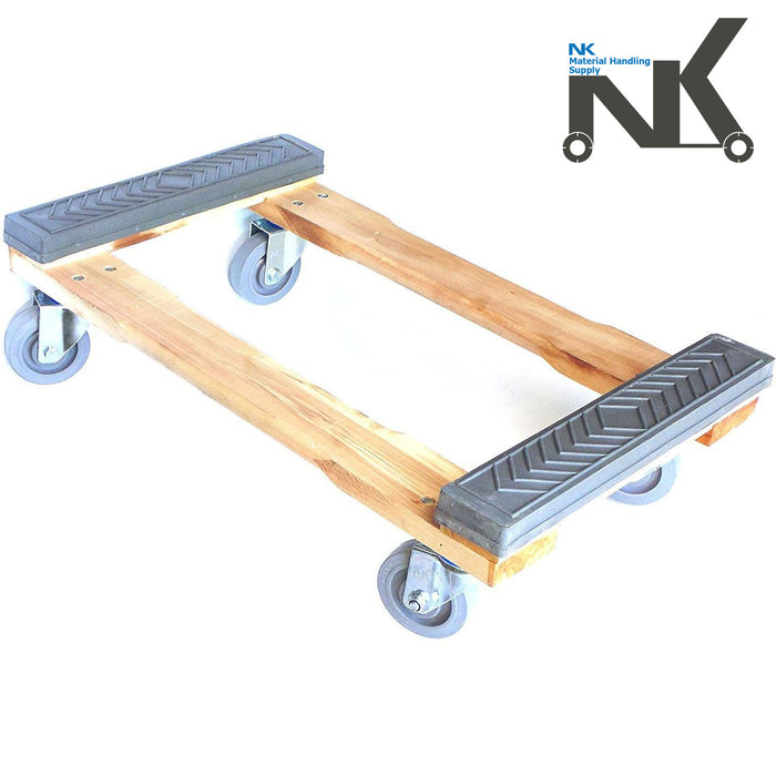 "NK Furniture Movers Dolly, Rubber End Caps, Non-marking TPR Wheels, 30"" L x 17"" W - RK Safety"