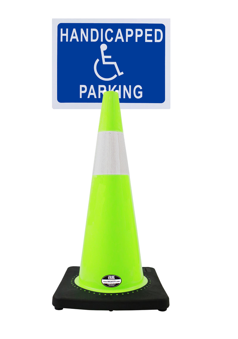 "RK-Safety 28"" Lime Cone, Black base With One 6"" Reflective Tape, Plus Cone Sign 40 ""Handicapped Parking"", (Cone-2 ea + Cone Sign-2 ea)-RK Safety-RK Safety"