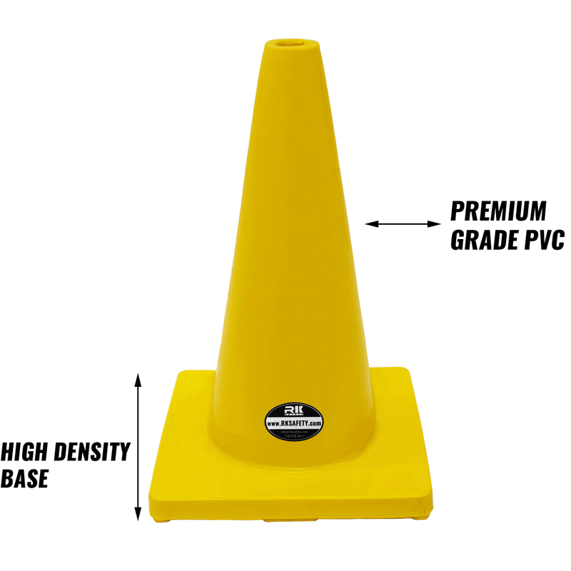 "18"" RK Yellow Safety Traffic PVC Cones, Yellow Base-RK Safety-RK Safety"
