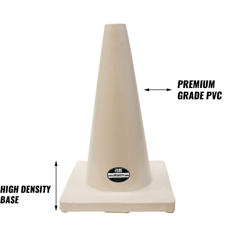 "18"" RK White Safety Traffic PVC Cones, White Base-RK Safety-RK Safety"