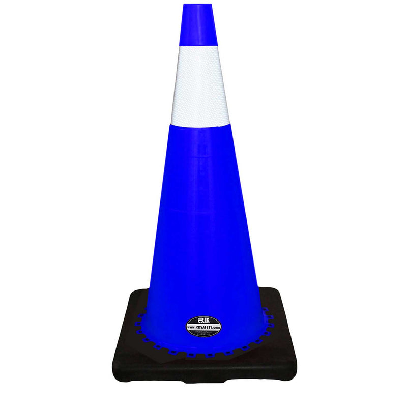 "28"" RK Blue Safety Traffic PVC Cones, Black Base with One Reflective Collar-RK Safety-RK Safety"