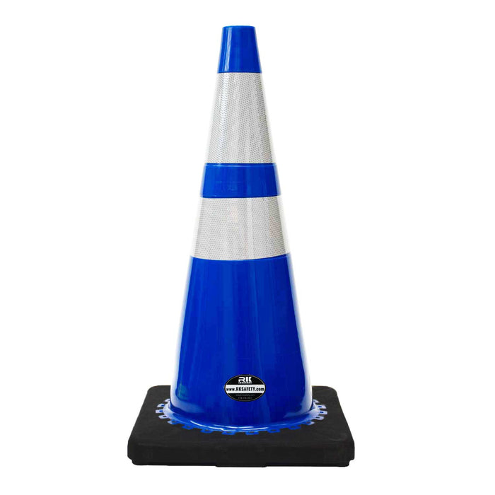 "28"" RK Blue Safety Traffic PVC Cones, Black Base with Two Reflective Collar-RK Safety-RK Safety"
