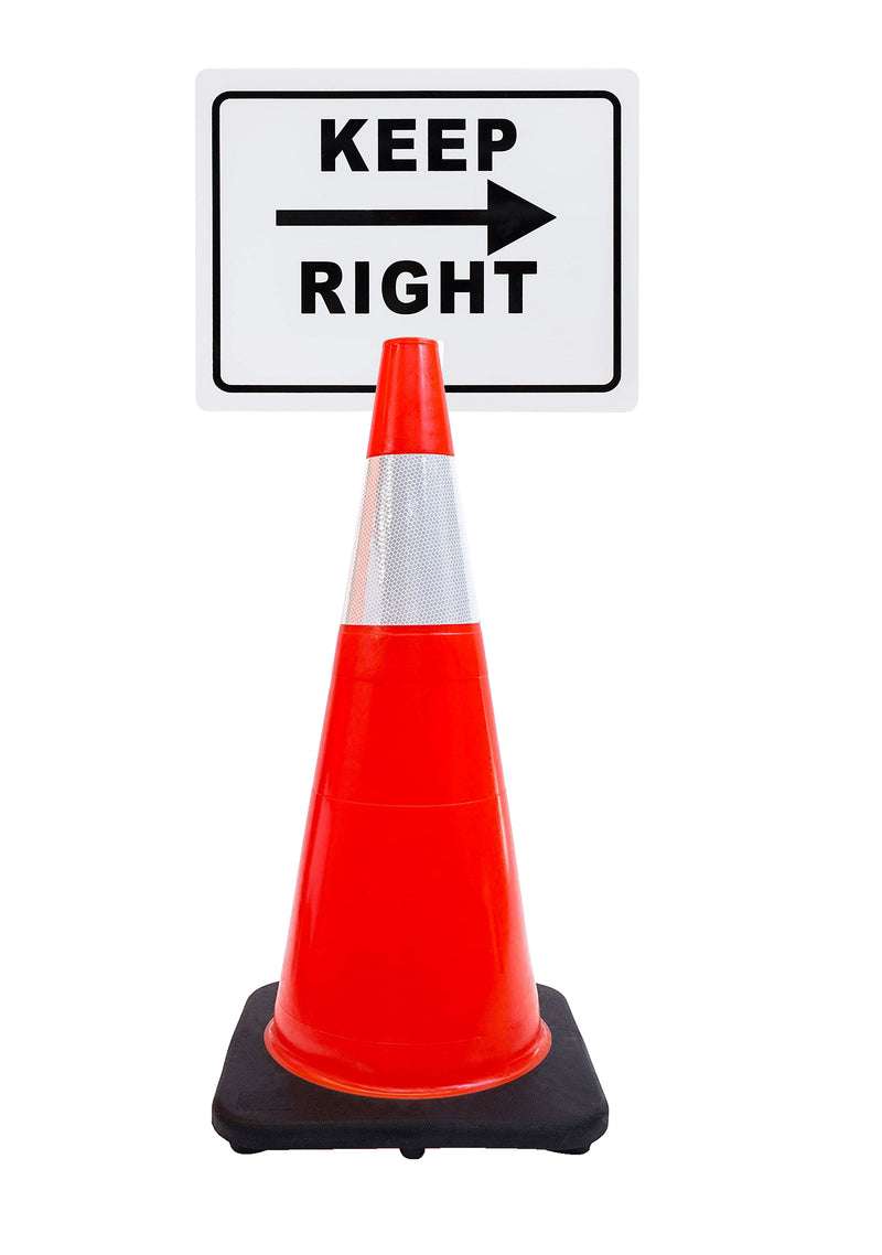"RK-Safety 28"" Orange Cone, Black base With One 6"" Reflective one Tape, Plus Cone Sign-RK Safety-RK Safety"