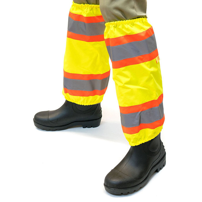 RK-GAITERS-LM Hi-Viz Contrasting Trim Leg Gaiters, Polyester oxford w/ PU coating, Lime-New York Hi-Viz Workwear-RK Safety