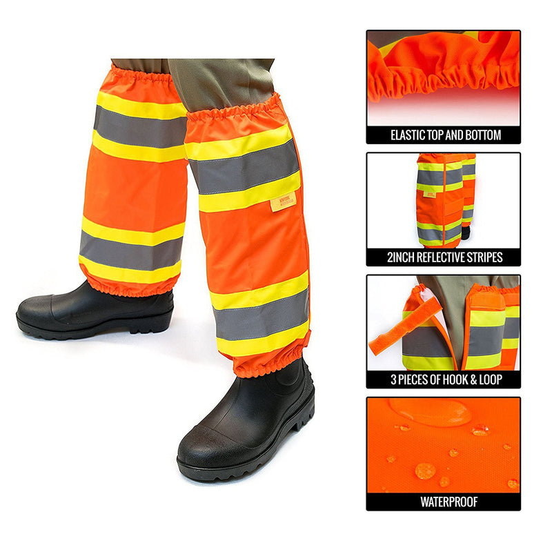 RK-GAITERS-OR Hi-Viz Contrasting Trim Leg Gaiters, Polyester oxford w/ PU coating, Orange-New York Hi-Viz Workwear-RK Safety