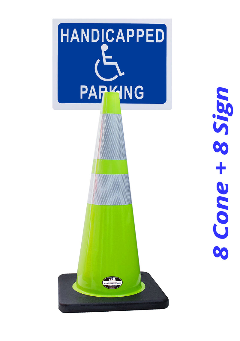 "RK-Safety 28"" Lime Cone, Black base With Two Reflective Tape, Plus Cone Sign 40 ""Handicapped Parking"", (Cone-8 ea + Cone Sign-8 ea)-RK Safety-RK Safety"