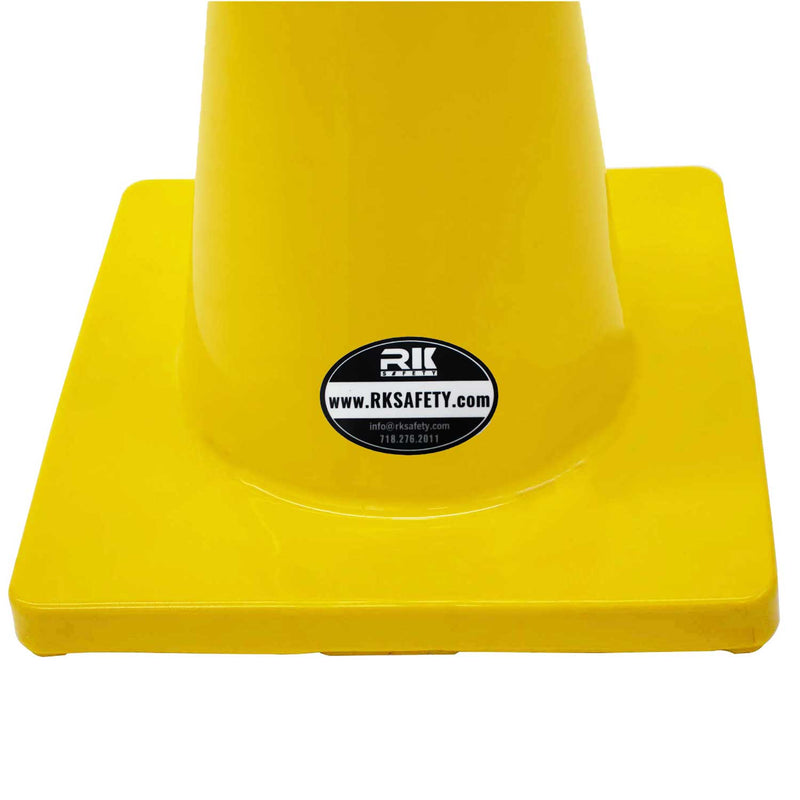 "18"" RK Yellow Safety Traffic PVC Cones, Yellow Base with One Reflective Collar-RK Safety-RK Safety"