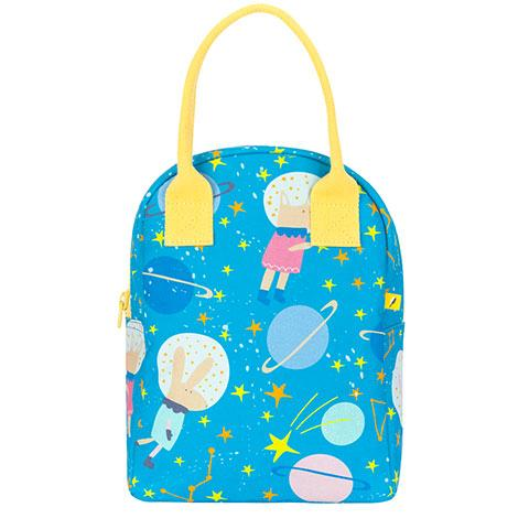 Zipper Lunch Bag Astro Party Organic Cotton Lunch Bag Front