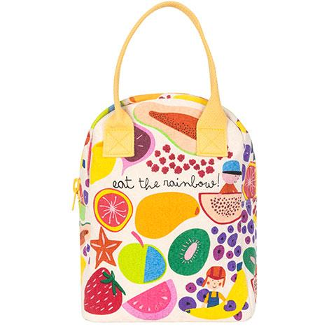 Zipper Lunch Bag Eat The Rainbow Organic Cotton Lunch Bag Front