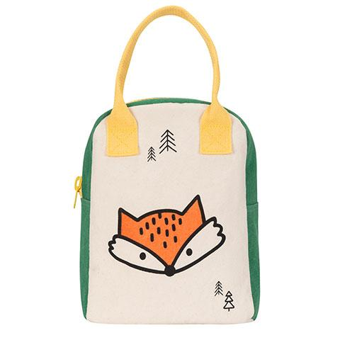 Zipper Lunch Bag Fox Organic Cotton Lunch Bag Front