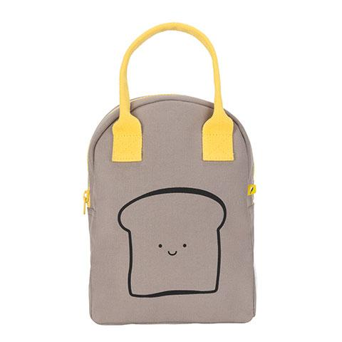 Zipper Lunch Bag Happy Bread / Grey Cotton Lunch Bag Front