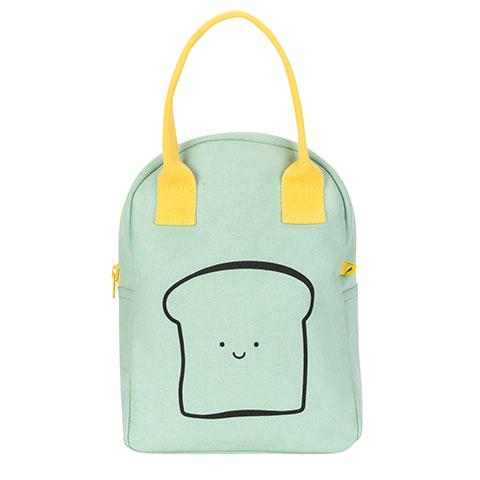 Zipper Lunch Bag Happy Bread / Mint Cotton Lunch Bag Front