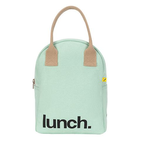 Zipper Lunch Bag Solid Mint Organic Cotton Lunch Bag Front