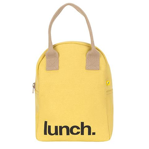 Zipper Lunch Bag Solid Yellow Cotton Lunch Bag Front