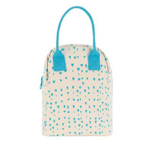 Zipper Lunch Bag - BLUE HEARTS