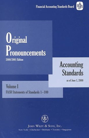 2000 Financial Accounting Standards Board (FASB) Original Pronouncements Volumes 1, 2 & 3 package