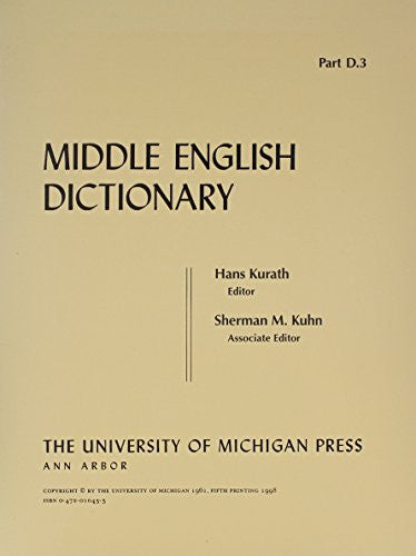 Middle English Dictionary (Volume D.3)