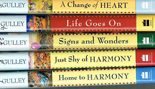 """A Harmony Novel"" series 5 books, ""A Change of Heart,"" ""Life Goes On,"" ""Signs and Wonders,"" ""Just Shy of Harmony"" & ""Home to Harmony"""