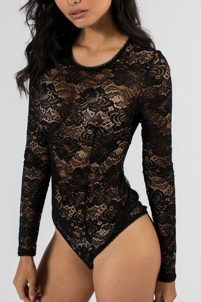 Soft Lace Long Sleeve Bodysuit