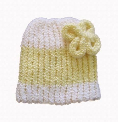 Knit Infantbaby Beanie With Flower Embellishment Optional Colors