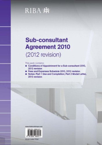 RIBA Sub-consultant Agreement 2010 (2012 Revision) Pack of 10