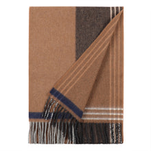 Load image into Gallery viewer, Superfine Merino is woven with a geometric stripe design and has a luxurious feel. Woven at the Bute Fabrics mill on the Isle of Bute, this scarf is the perfect lightweight accessory.