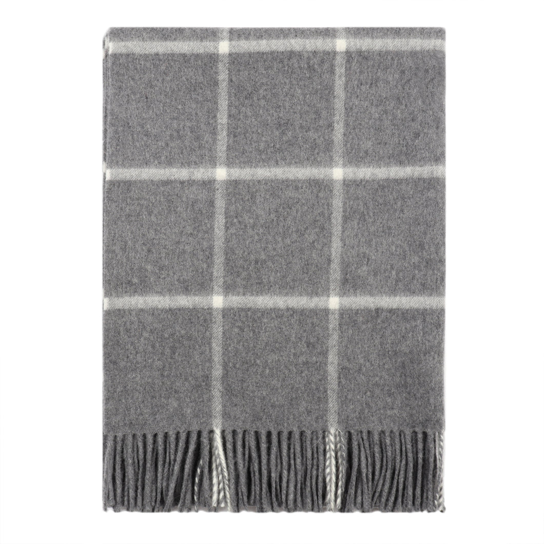 Windowpane Check Flannel Grey Scarf