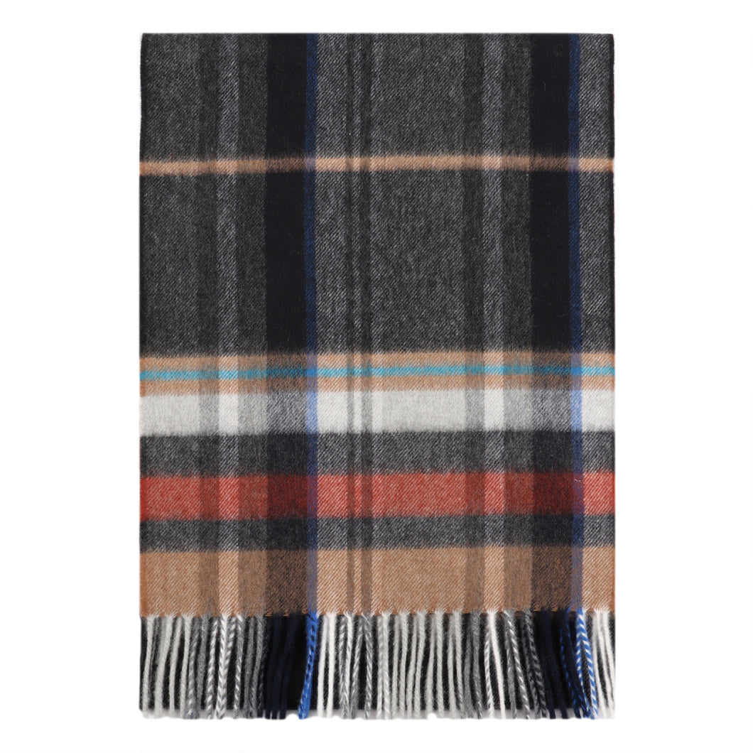 Superfine Merino is woven with a striped check design and has a luxurious feel. Woven at the Bute Fabrics mill on the Isle of Bute, this stole is the perfect lightweight accessory.