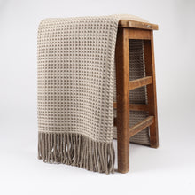 Load image into Gallery viewer, Shiel is woven with a contemporary honeycomb texture in a lambswool and cashmere blend. Woven at the Bute Fabrics mill on the Isle of Bute, this throw is finished with fringing for an extra stylish touch.