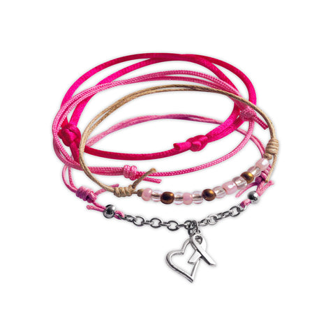 Awareness Charm Bracelet Set with Heart and Ribbon Charms