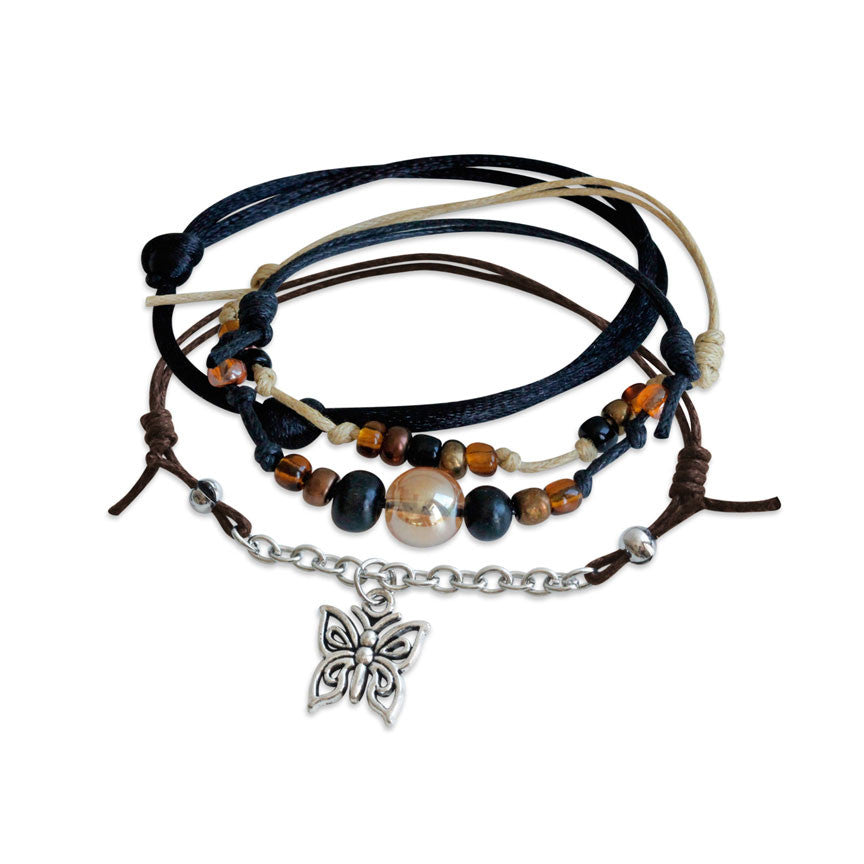 Butterfly Charm Bracelet set with foiur bracelets