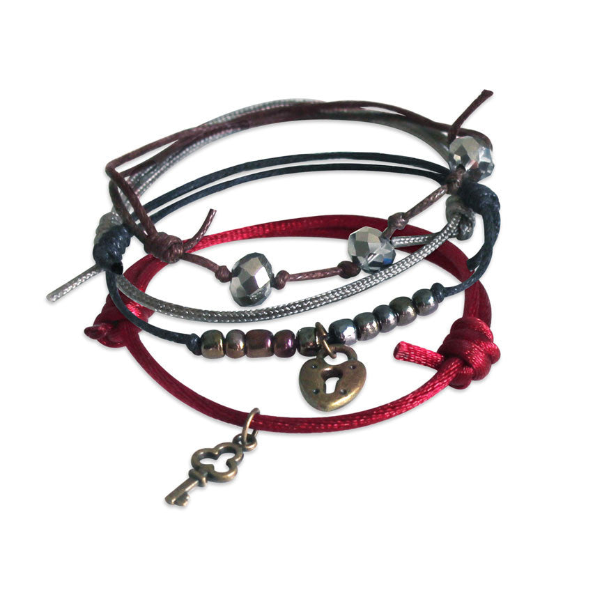 Lock and Key Bracelet 4 Piece Set