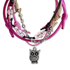 Close Up of Owl Charm and Pink and Clear Beads