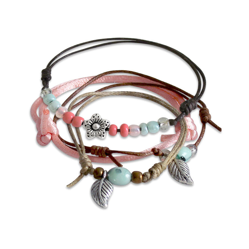 Spring Flower & Leaf Bracelets - 4 Piece Set - O Yeah Gifts!