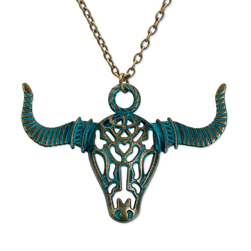 Patina Bronze Bull Pendant Necklace made by O Yeah Gifts!