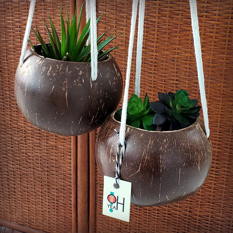 Coconut Shell Macrame Planter | O Yeah Gifts!