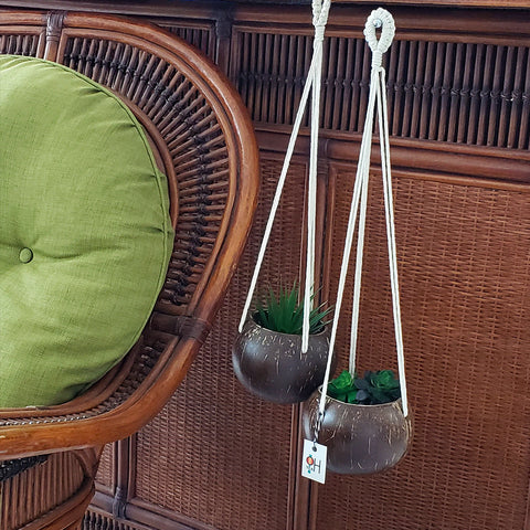 Hanging Macrame Planter with Coconut shell base