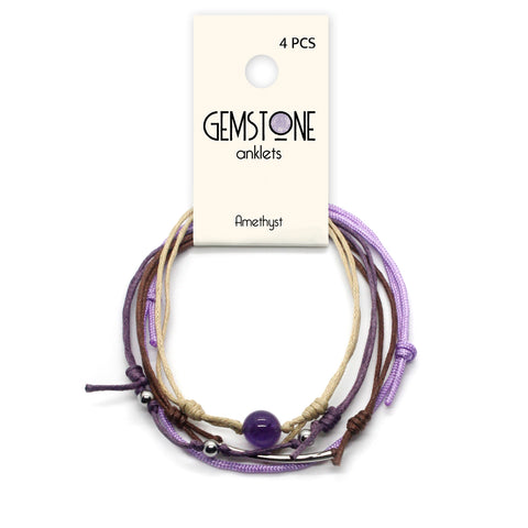 Amethyst Gemstone Anklet with Product Tag