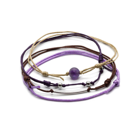 Amethyst Gemstone Anklet - 4 Piece Set